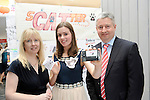 Young Entrepreneur of The Year finalist Sarah Costello, Presentation School, Miltown with Fiona Stack, Radio Kerry and John Kelliher, Glen Dimplex pictured with her 'Scatter Cat' project which she exhibited at the YEP finals in the Malton Hotel, Killarney on Thursday.<br /> Picture by Don MacMonagle<br /> <br /> Repro free