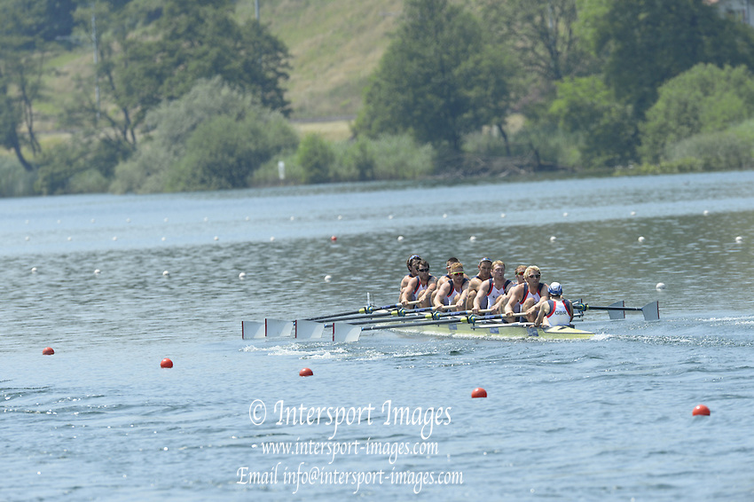 Lucerne. Switzerland. GBR1 M8+. Bow. Tom RANSLEY, Dan RICHIE, Peter REED, Will SATCH, Mo SBIHI, Alex GREGORY George NASH, Andy TRIGGS HODGE and cox,  Phelan HILL, move away from the start pontoon in their heat of the  men's eights FISA WC III. 13:48:40  Friday  12/07/2013  [Mandatory Credit, Peter Spurrier/ Intersport Images] Lake Rotsee,