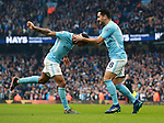 Ilkay Gundogan of Manchester City (r) celebrates scoring the second goal during the premier league match at the Etihad Stadium, Manchester. Picture date 7th April 2018. Picture credit should read: Simon Bellis/Sportimage