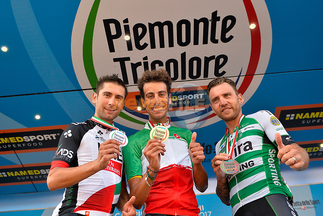 Fabio Aru (ITA) Astana wins the Italian National Championships 2017 Elite Men road race running 236km from Asti to Ivrea, with Diego Ulissi (ITA) Team UAE Emirates in Silver and Nocentini Bronze, Piemonte, Italy. 25/06/2017.<br /> Picture: Foto LaPresse/Marco Alpozzi | Cyclefile<br /> <br /> <br /> All photos usage must carry mandatory copyright credit (&copy; Cyclefile | LaPresse/Marco Alpozzi)