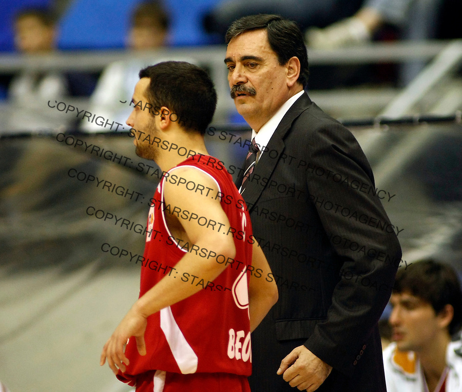 Kosarka, NLB League, sezona 2009/2010.Head coach Vlade Djurovic and Filip Covic.Belgrade, 09.01.2010..foto: Srdjan Stevanovic/Starsportphoto ©