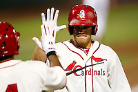 Eric Duncan (15) of the Springfield Cardinals is congratulated by teammates after hitting a home run during a game against the Northwest Arkansas Naturals and the Springfield Cardinals at Hammons Field on July 30, 2011 in Springfield, Missouri. Springfield defeated Northwest Arkansas 11-5. (David Welker / Four Seam Images)