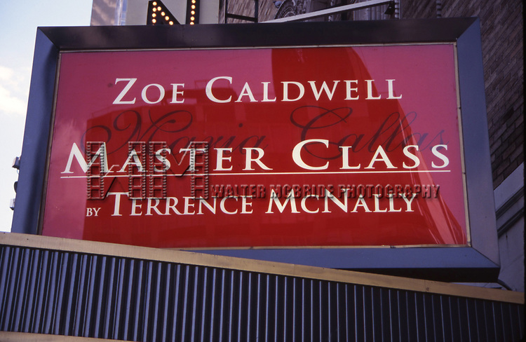 "Theatre Marquee for Zoe Caldwell starring in ""Master Class""  at the Golden Theatre on November 1, 1995 in New York City."
