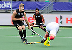 The Hague, Netherlands, June 08: Stephen Jenness #27 of New Zealand defends during the match during the field hockey group match (Men - Group B) between the Black Sticks of New Zealand and Germany on June 8, 2014 during the World Cup 2014 at Kyocera Stadium in The Hague, Netherlands.  Final score 3-5 (1-3) (Photo by Dirk Markgraf / www.265-images.com) *** Local caption ***