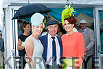Elaine Kelleher and Joanne Murphy with Michael Healy-Rae at  Ladies Day at Killarney Races on Thursday