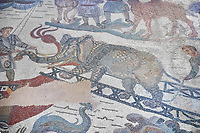 Ambulatory of the Great Hunt Roman mosaic, elephant is loaded onto a ship, room no 28, at the Villa Romana del Casale, first quarter of the 4th century AD. Sicily, Italy. A UNESCO World Heritage Site.<br /> <br /> The Great Hunt ambulatory is around 60 meters long (200 Roman feet) and connects the master&rsquo;s northern apartments with the triclinium in the south. The door in the centre of the the Great Hunt ambulatory leads to audience hall. <br /> <br /> The Great Hunt Roman mosaic depicts African animals being hunted and put onto ships to be taken to the Colosseum.