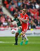 30th September 2017, Riverside Stadium, Middlesbrough, England; EFL Championship football, Middlesbrough versus Brentford; Kamohelo Mokotjo of Brentford and Adam Clayton of Middlesbrough compete for the ball in the 2-2 draw
