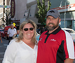 Brandy Welch and Adam Meredith during the Hot August Nights Parade in downtown Reno on Sunday, August 13, 2017.