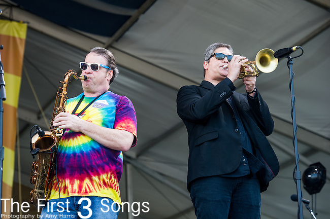 Jeff Watkins of the New Orleans Suspects performs during the New Orleans Jazz & Heritage Festival in New Orleans, LA.
