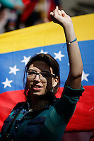A Venezuela's government opposition member takes part in a rally against president Maduro and his government in front of Venezuela's consulate in New York,  04/19/2015. Eduardo MunozAlvarez/VIEWpress