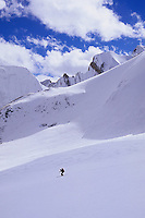 Simon Destombes skiing down the Bhrikuti Glacier, Damodar Himal, Nepal, 2008