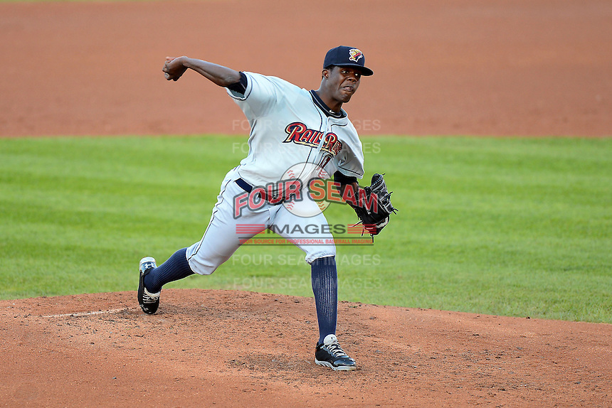 Scranton Wilkes-Barre RailRiders starting pitcher Jose Ramirez #41 delivers a pitch during a game against the Rochester Red Wings on June 19, 2013 at Frontier Field in Rochester, New York.  Scranton defeated Rochester 10-7.  (Mike Janes/Four Seam Images)