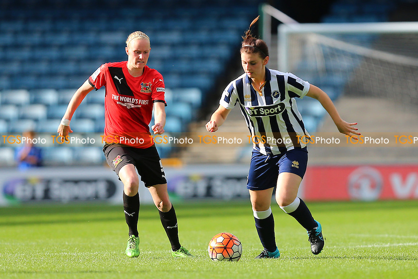 Jordon Butler of Millwall and Jodie Michalska of Sheffield during Millwall Lionesses vs Sheffield FC Ladies, FA Women's Super League FA WSL2 Football at The Den on 9th October 2016