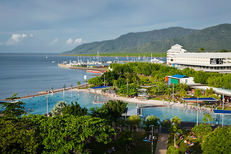 Esplanade Lagoon and The Pier shopping centre on the waterfront.  Cairns, Queensland, AUSTRALIA