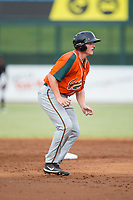 Jared Barnes (15) of the Greensboro Grasshoppers takes his lead off of second base against the Kannapolis Intimidators at Kannapolis Intimidators Stadium on August 13, 2017 in Kannapolis, North Carolina.  The Grasshoppers defeated the Intimidators 3-0.  (Brian Westerholt/Four Seam Images)