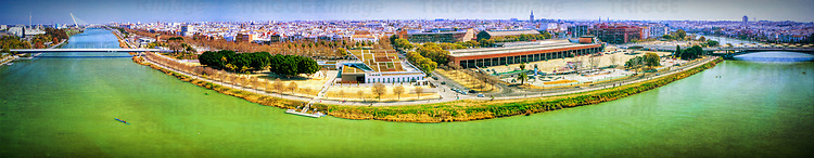 The Guadalquivir river and the city of Seville as seen from Schlinder Tower in Cartuja Island. High resolution panorama made out of seven frames.
