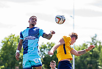 Paris Cowan-Hall of Wycombe Wanderers goes up for the ball during the pre season friendly match between Slough Town and Wycombe Wanderers at Arbour Park Stadium, Slough, England on 8 July 2017. Photo by Andy Rowland.