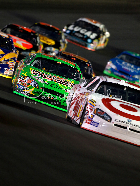 Drives make their way through turn four during the Bank of America 500 NASCAR race at Lowes's Motor Speedway in Concord, NC.