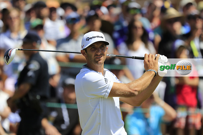 Dustin JOHNSON (USA) tees off the 1st tee to start his match during Sunday's Final Round of the 2015 U.S. Open 115th National Championship held at Chambers Bay, Seattle, Washington, USA. 6/21/2015.<br /> Picture: Golffile | Eoin Clarke<br /> <br /> <br /> <br /> <br /> All photo usage must carry mandatory copyright credit (&copy; Golffile | Eoin Clarke)