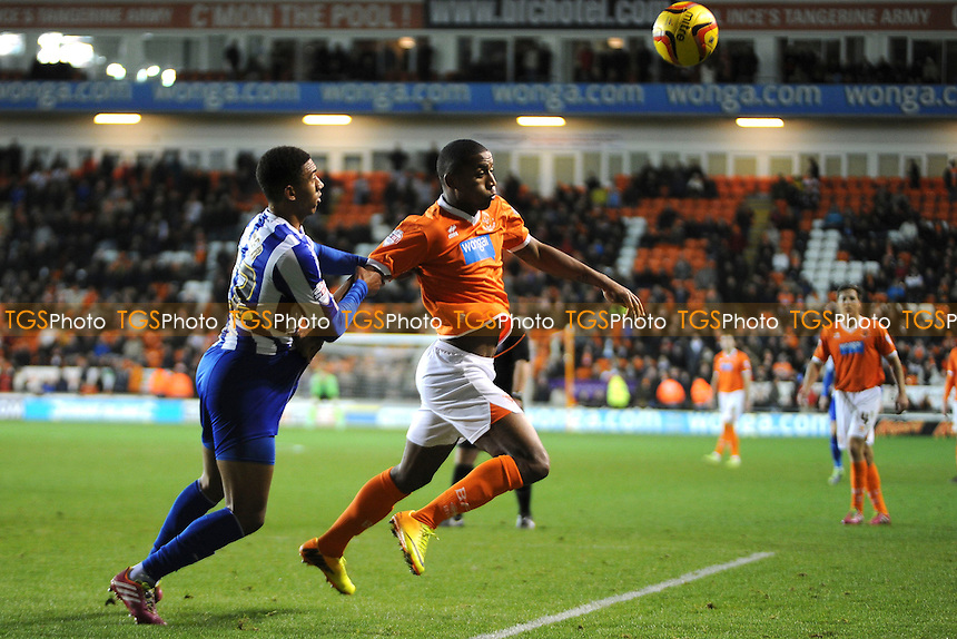 Marvin Zeegelaar of Blackpool vies for the ball with Liam Palmer of Sheffield Wednesday - Blackpool vs Sheffield Wednesday - Sky Bet Championship Football at Bloomfield Road, Blackpool, Lancashire - 30/11/13 - MANDATORY CREDIT: Greig Bertram/TGSPHOTO - Self billing applies where appropriate - 0845 094 6026 - contact@tgsphoto.co.uk - NO UNPAID USE