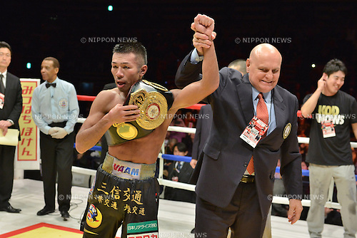 (L-R) Takashi Uchiyama (JPN), Renzo Bagnariol,<br /> DECEMBER 31, 2013 - Boxing :<br /> Takashi Uchiyama of Japan celebrates with his champion belt and WBA supervisor Renzo Bagnariol after winning the WBA super featherweight title bout at Ota-City General Gymnasium in Tokyo, Japan. (Photo by Hiroaki Yamaguchi/AFLO