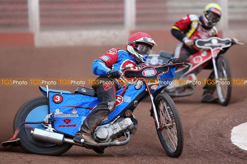 Heat 5: Adam Shields (red) and Henning Bager (green) - Lakeside Hammers vs Peterborough Panthers KO Cup at The Arena Essex Raceway, Lakeside - 20/06/08 - MANDATORY CREDIT: Rob Newell/TGSPHOTO