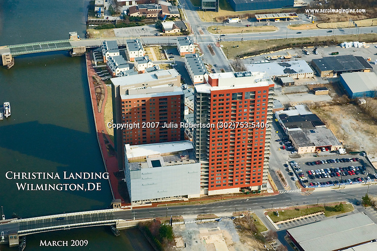 Aerial view of Downtown Wilmington Delaware view North East