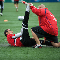 16 May 09: Chicago Fire midfielder Cuauhtemoc Blanco #10 preforms some stretching exercises in the warm-up during action at BMO Field in a game between the Chicago Fire and Toronto FC..Chicago Fire won 2-0..