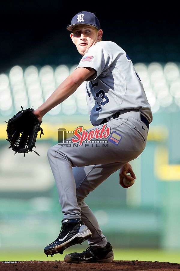 Starting pitcher John Simms #33 of the Rice Owls in action against the Baylor Bears at Minute Maid Park on March 6, 2011 in Houston, Texas.  Photo by Brian Westerholt / Four Seam Images