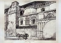 Europe/France/Midi-Pyrénées/46/Lot/Cahors: La bibliothèque - Vieille lithographie de la cathédrale