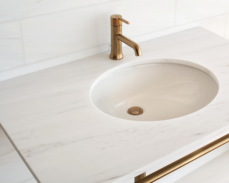 Vanity top shown in polished Dolomite.
