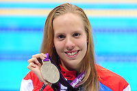 PICTURE BY ALEX BROADWAY /SWPIX.COM - 2012 London Paralympic Games - Day Seven - Swimming, Aquatic Centre, Olympic Park, London, England - 05/09/12 - Louise Watkin of Great Britain poses with her Silver Medal after the Women's 50m Freestyle S9 Final.