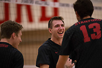 STANFORD, CA - January 2, 2018: Jacob Thoenen, Kevin Rakestraw, Eric Beatty at Burnham Pavilion. The Stanford Cardinal defeated the Calgary Dinos 3-1.