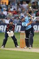 James Foster looks on as Chris Nash hits out for Sussex - Essex Eagles vs Sussex Sharks - Friends Life T20 Cricket at the Ford County Ground, Chelmsford, Essex - 28/06/12 - MANDATORY CREDIT: Gavin Ellis/TGSPHOTO - Self billing applies where appropriate - 0845 094 6026 - contact@tgsphoto.co.uk - NO UNPAID USE.