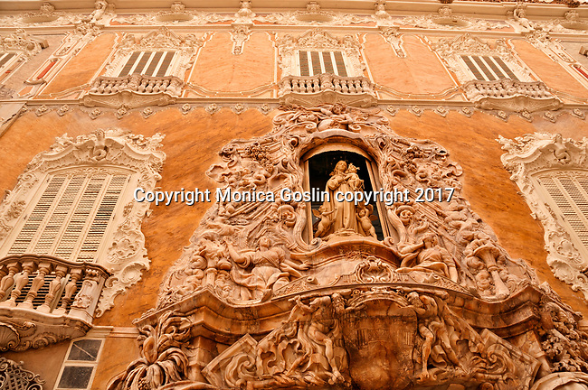 Facade of the 18th century exterior palace that houses the Ceramic Museum or Museo Nacional de Ceramic in Valencia, Spain