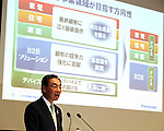 March 31, 2016, Tokyo, Japan - Japan's electronics giant Panasonic president Kazuhiro Tsuga speaks about company's new business strategy before press at Panasonic's office in Tokyo on Thursday, March 31, 2016. (Photo by Yoshio Tsunoda/AFLO) LWX -ytd-