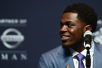 New York, NY - December 10, 2016: Michigan linebacker Jabrill Peppers speaks to members of the media during a news conference for the Heisman Trophy finalists at the New York Marriott Marquis, December 10, 2016. (Photo by Don Baxter/Media Images International)