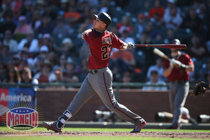 SAN FRANCISCO, CA - SEPTEMBER 17:  Jake Lamb #22 of the Arizona Diamondbacks bats against the San Francisco Giants during the game at AT&T Park on Sunday, September 17, 2017 in San Francisco, California. (Photo by Brad Mangin)