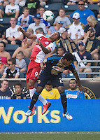 Sheanon Williams (25) of the Philadelphia Union goes up for a header with Ryan Johnson (9) of the Portland Timbers during a Major League Soccer game at PPL Park in Chester, PA.  Philadelphia Union tied the Portland Timbers, 0-0.