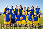 St. Johns, Kenmare front l-r Grace Roberts White, Freya Cusack, Ava Whiley  Freddie Offerings, Cliona Daly, Ava O;Connor, Back l-r Aoife Crowley, Serena O'Sullivan, Amy Harrington, Laurie Adams, Sarah Taylor, Molly Bhamvra, Rachel Gaine, Emma Foley at the FAI Spar schools 5 aside soccer tournament in Christy Leahy Park on Tuesday