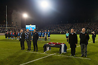A general view of the pre-match ceremony to mark Remembrance Day weekend. Anglo-Welsh Cup match, between Bath Rugby and Leicester Tigers on November 10, 2017 at the Recreation Ground in Bath, England. Photo by: Patrick Khachfe / Onside Images