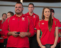 Paralympian athlete Aled Sion Davies MBE and gymnast Frankie Jones attend the Team Wales Commonwealth Games Homecoming Ceremony at the Senedd, Cardiff Bay, Wales, United Kingdom. 10th September 2014.