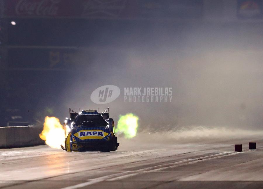 Nov 10, 2018; Pomona, CA, USA; NHRA funny car driver Ron Capps during qualifying for the Auto Club Finals at Auto Club Raceway. Mandatory Credit: Mark J. Rebilas-USA TODAY Sports
