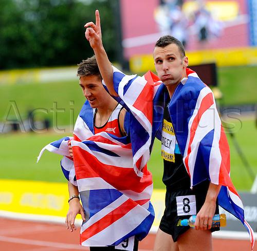 23.06.2012 Birmingham, England. AVIVA 2012  Athletics, Olympic Trials.  Andrew Baddeley and Ross Murray  Men's 1500 Metre sin action at the Alexander Stadium.