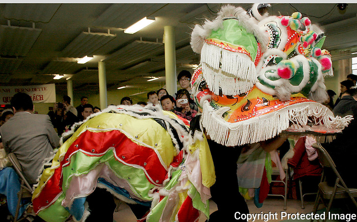 A dragon dances around a crowd at the Vietnamese Lunar New Year celebration at St. Bernadette's Parish in Randolph Sunday. .(Photo by Gary Wilcox)