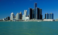 Skyline of Detroit, Michigan. Detroit Michigan USA downtown.