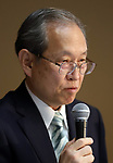 August 10, 2017, Tokyo, Japan - Japan's troubled electronics giant Toshiba president Satoshi Tsunakawa announces delayed financial result ended March at the company's headquarters in Tokyo on Thursday, August 10 2017. Toshiba said it has fallen into negative net worth of 553 billion yen and the auditor issued an adverse opinion on Toshiba's internal control.  (Photo by Yoshio Tsunoda/AFLO) LwX -ytd-