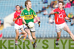 Eamonn Hickson of Kerry shakes off Cork's Sean Kiely last Wednesday night in Pairc Ui Chaoimh, Cork in the Munster GAA Junior Football Championship.