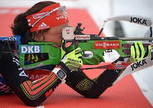 03.03.2016. Holmenkollen, Oslo, Norway.  Female biathlete Laura Dahlmeier of Germany in action during a training session at the Biathlon World Championships, in the Holmenkollen Ski Arena, Oslo, Norway, 03 March 2016.