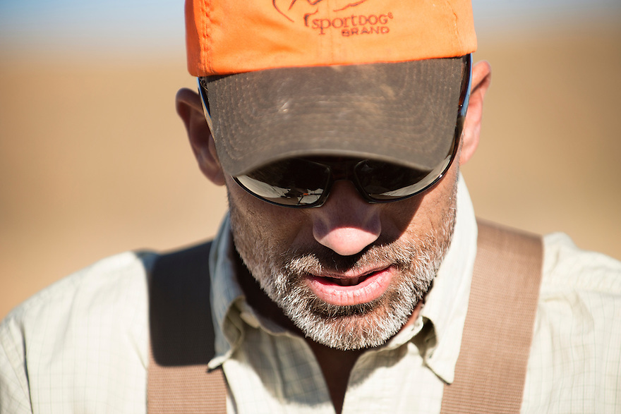 Pete Coppolillo, of Bozeman, Montana, hunts upland game birds near the Missouri River Breaks.